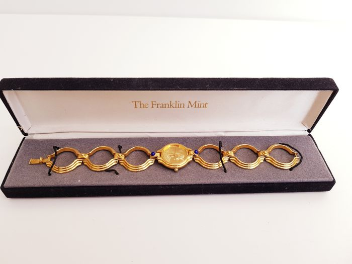 The Cleopatra 24kt gold plated Bracelet Watch - With genuine Lapis Lazuli stones - Franklin Mint