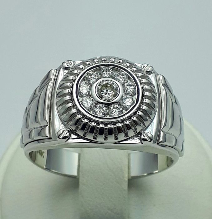 Men's Diamond Ring, 14/585 Ct White Gold, Size :21.50mm, Total Weight:8.58g, Free Ring Sizing