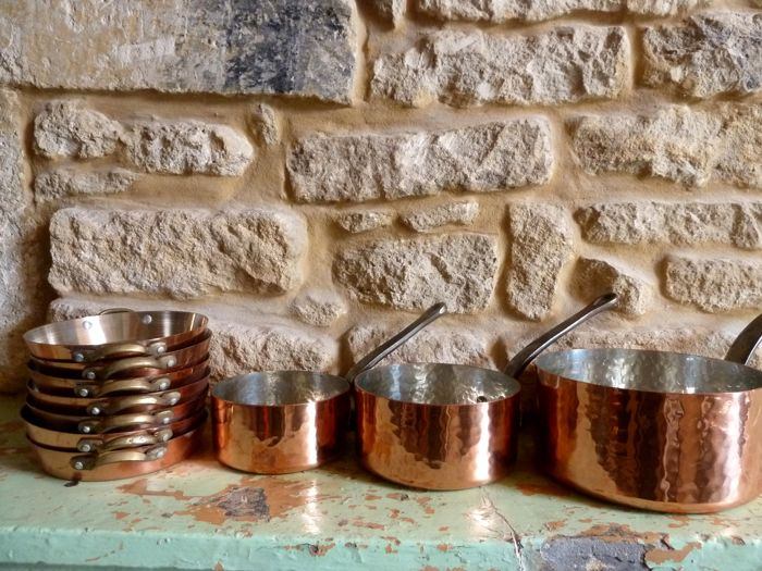 three hammered copper pans + 7 copper ovenproof dishes