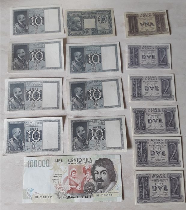 Italy - Lot of 15 banknotes - Italian Republic - Fascism