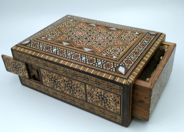 Inlaid wooden box with secret compartment - circa 1900