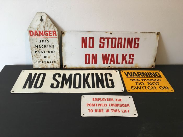 5 signs from Longbridge Rover and MG Car Factory, England - 1960s