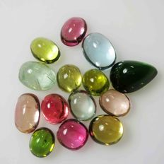Fancy Tourmaline Polished Cabs lot - 14.630ct - (14 pcs)