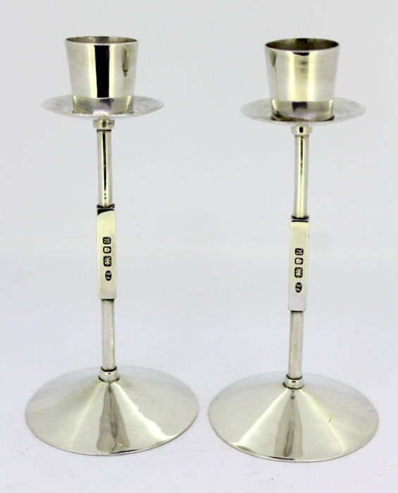 A Pair of Sterling Silver Candlesticks - marked FE - London - 1994