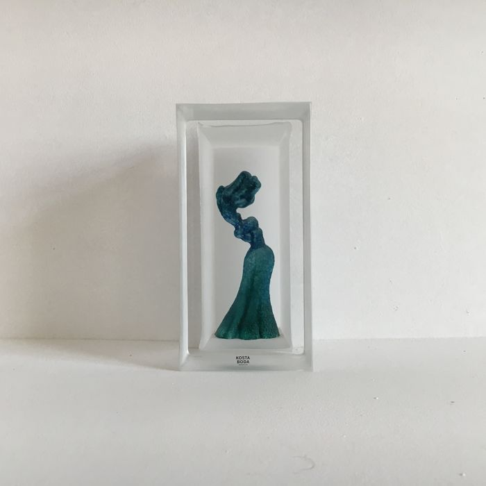 "Kjell Engman for Kosta Boda - ""Snapshot"" ""in the wind"", female figure in glass cube sculpture"