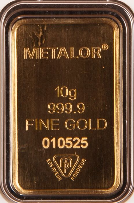 10 gram - Gold .999 (24 kt.) - Metalor - Seal+Certificate