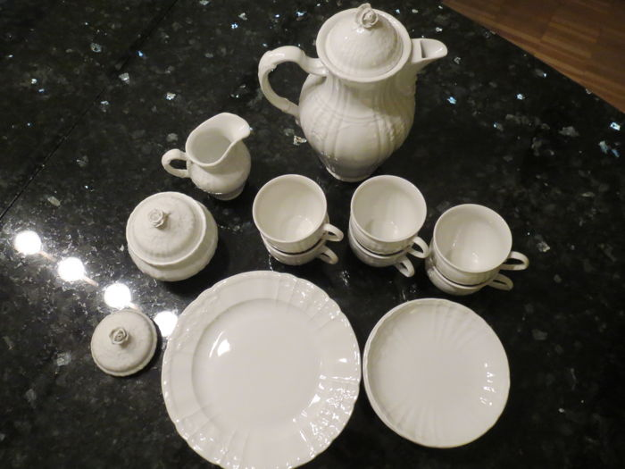 KPM Berlin coffee set Rocaille complete for 6 people incl.  coffee pot, sugar bowl and milk jug