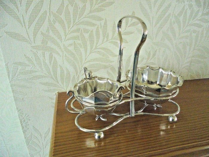 Tea Condiments Set with stand, English silver plated item by J. Dixon & Sons