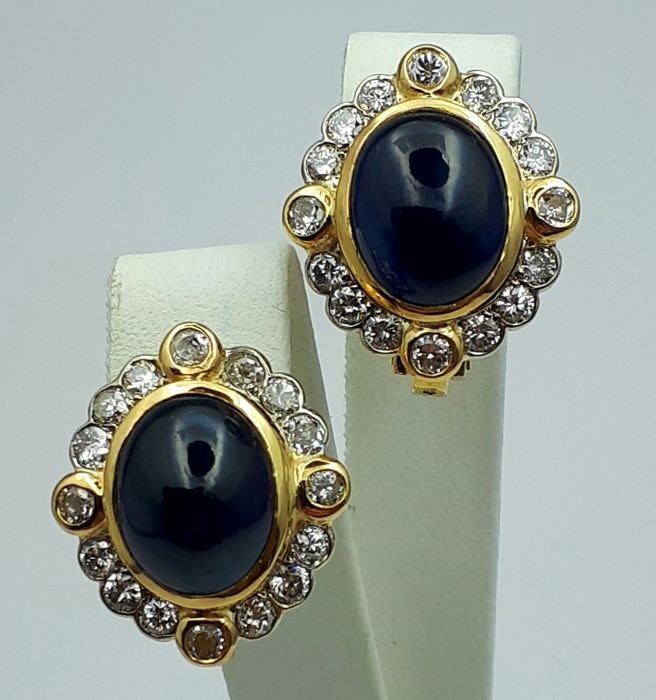 Vintage Natural Cabochon Sapphire & Diamonds Earrings, 18 Ct Yellow Gold, Size:21x28 mm, Total Weight:15.41 g