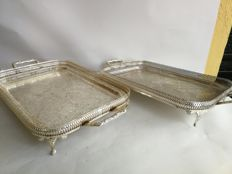 Pair of trays with legs and handles, made in England