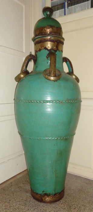 Enormous (140 cm)  Glazed Grés Pot -  Handles and base In Metal  - Portugal Colonial - mid 20th century