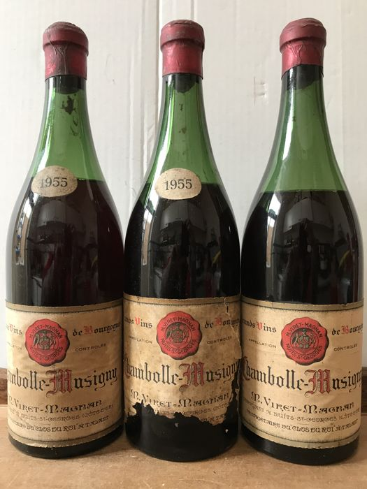 1955  Chambolle-Musigny , M.Viret-Magnan  - Total 3 Bottles