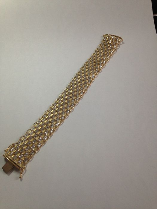 Flexible, extendible bracelet - AR 1975 company - yellow and white gold