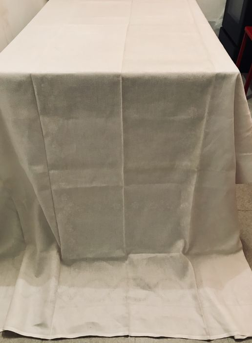 Very large old damask tablecloth made of cotton-linen mix with woven ornament 3 m!
