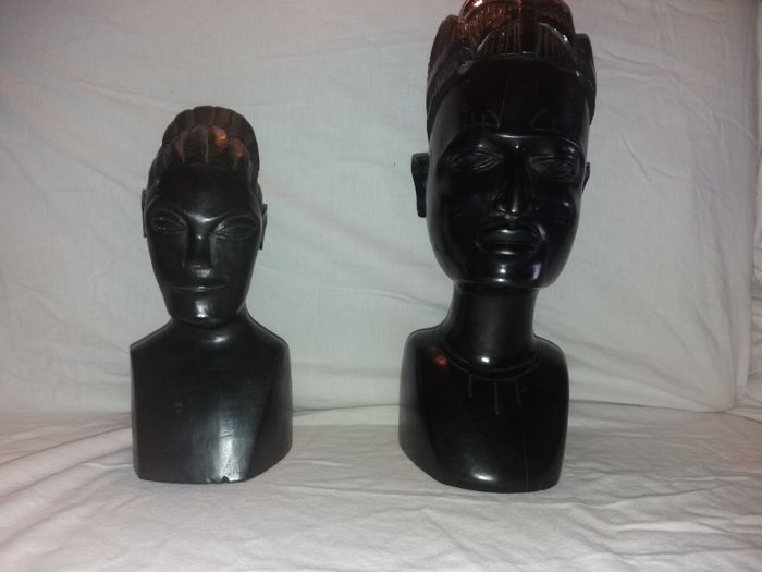 Mangbetu - carved male bust and female bust - ebony