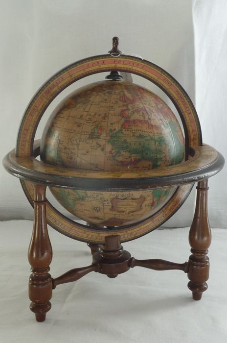 Decorative Old Globe With Antique Map In Wooden Globe Chair   Middle Of  20th Century