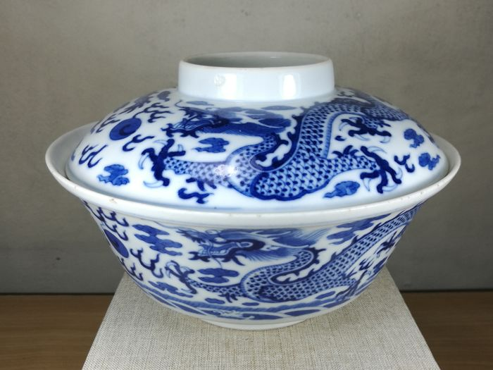 Blue & White Bowl with Cover- Four Dragons - China - late 19th century