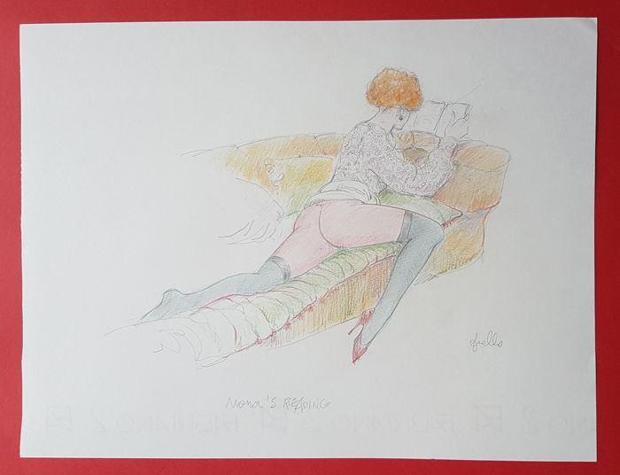 "Frollo, Leone - original illustration ""Mona Street reading"""