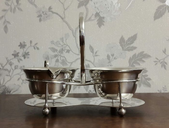 Condiment set for tea - milk and sugar pots with stand - silver plated