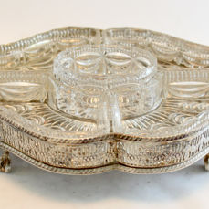 Antique silver plate and glass dish, By Viners LTD, Sheffield Early 20th Century