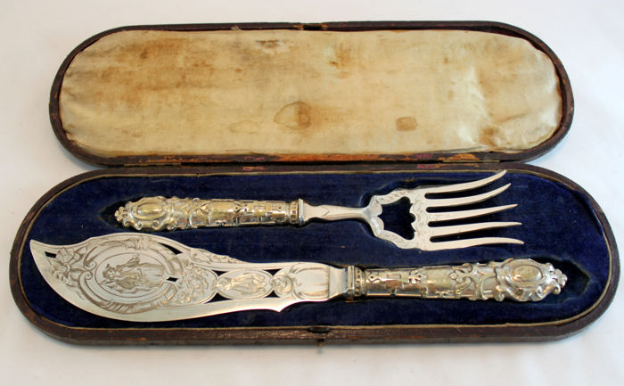 Antique Victorian silver plate fish eaters, C.1880