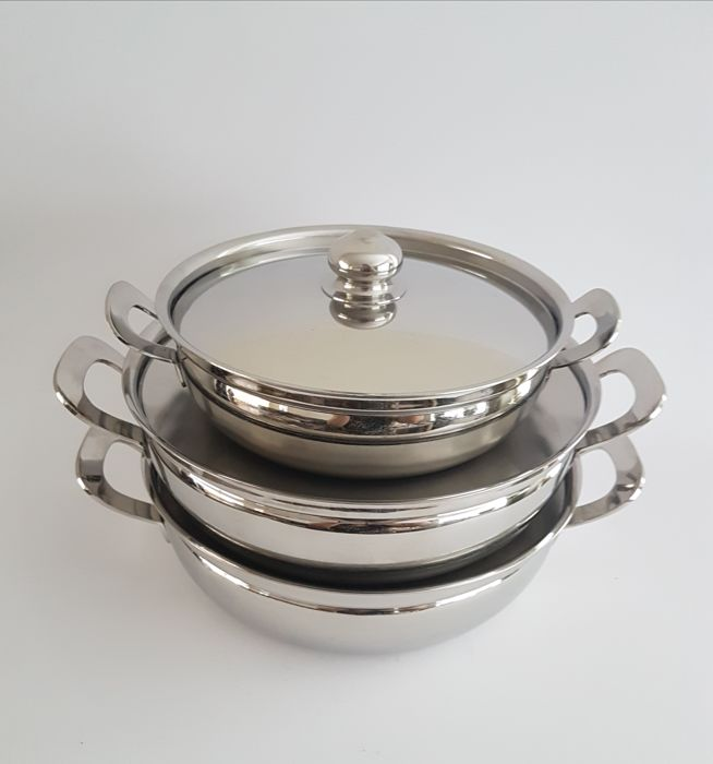 Covered Bowl - 3 pieces - silver plated