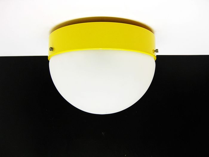 Unknown designer - Ceiling or wall lamp with satinised glass, from the 1970s
