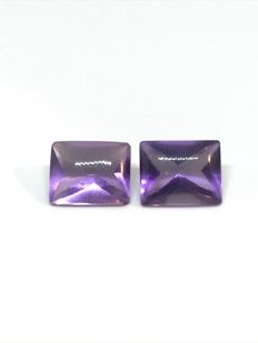 Pair of amethysts – 6 ct – No reserve price