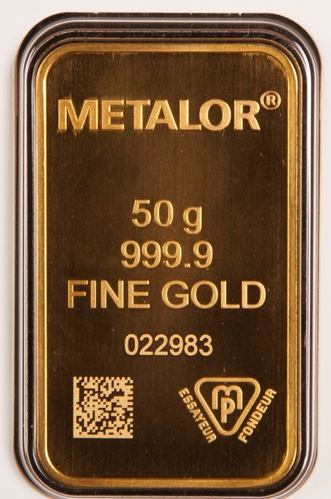 50 gram - Gold .999 (24 kt.) - Metalor - Seal+Certificate