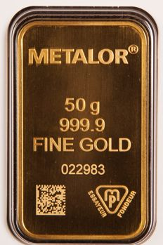 50 grammes - Or .999 (24 carats) - Metalor - Seal + certificat