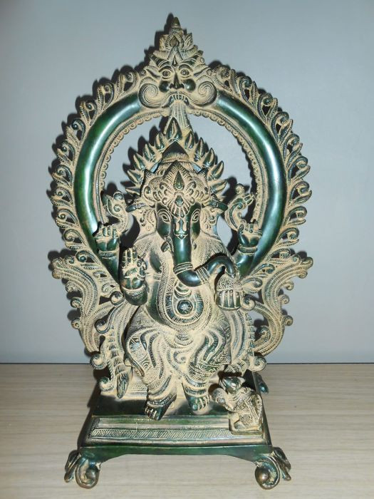 Large bronze Ganesha - Thailand - 2nd half 20th century (40 cm - 7.3 kg)