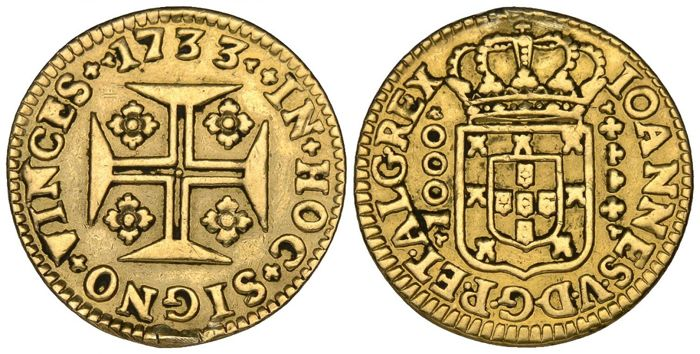 Portugal, Monarchy - D. João V (1706–1750) - Quartinho (1,000 Reis) - 1733 - Gold