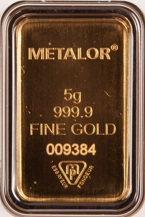Gold bar, 5 g, Metalor of Switzerland with certificate