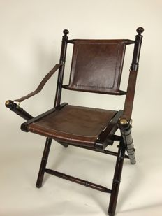 Officer's chair - wood and leather upholstery
