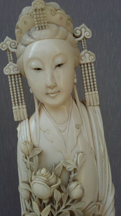 "Large Ivory sculpture ""Ma-Ku""  Goddess of Springtime, 56cms - China - ca. 1925"