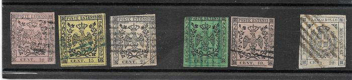 Modena 1852/1859 - small selection of stamps without point and with point after the number and Provisional Government - Sassone nos.  2/4; 7/9; 15