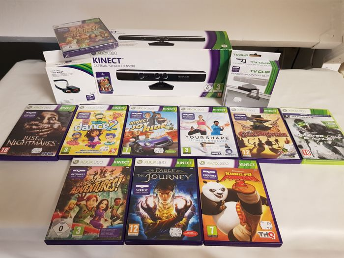 Complete Xbox 360 Kinect set including 10 games and more