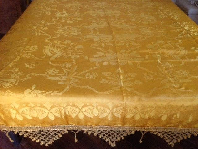 Italy - Art Deco - Antique bedspread made with high quality San Leucio golden damask silk