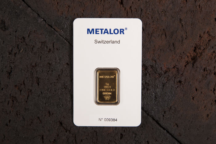 5 gram - Gold .999 (24 kt.) - Metalor - Seal+Certificate