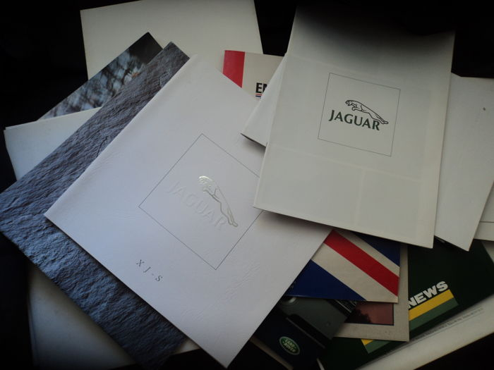 20 catalogues and brochures by Jaguar, Daimler, Rover, Range Rover, Land Rover and 14 original factory photos