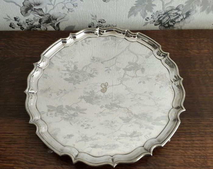 Tray with feet - silver plated - antique - by Barker Brothers