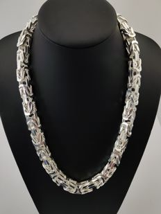 Silver king's braid link necklace, 925 kt. Weight: 439 grams. Length: 60 cm. Width: 11 mm