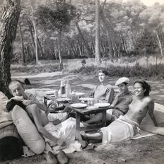 Lee Miller (1907-1977)  - Picnic at Mougins, Man Ray and others, 1937
