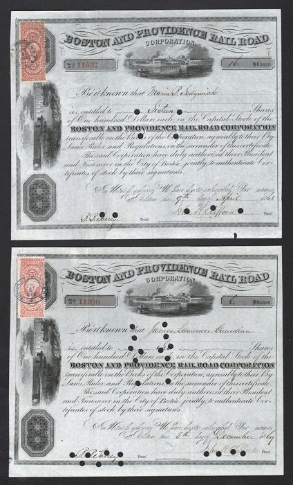 USA - Boston and Providence Rail Road Corporation - 1869/1869 (Lot of 2)