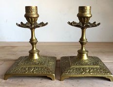 Brass candlesticks with Faust masks and French lily - 19th century - France