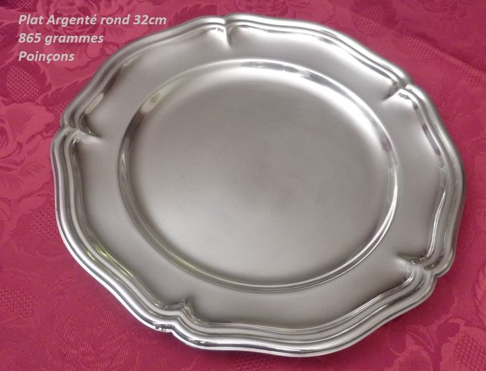 Round, silver plated dish, Louis XV style