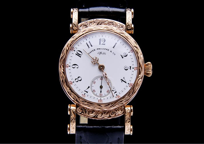 Patek Philippe - chronometer 14k solid gold hand engraved watch - Heren - 1890