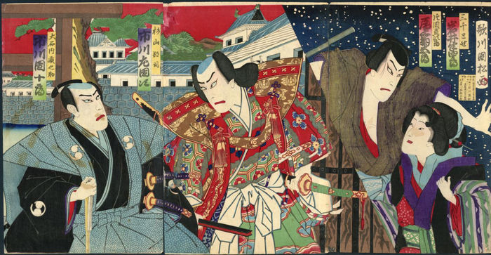 Originele houtsnede drieluik door Utagawa Kunimatsu (1855-1944) - Kabuki acteurs on stage - Japan - 1881