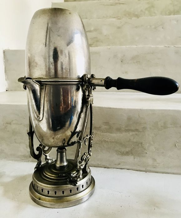 Old French flip coffee maker in silver plated metal, E.D PARIS 8