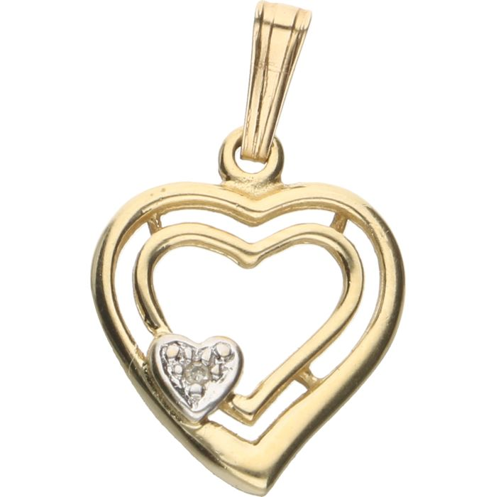 14 kt yellow gold heart shaped pendant inlaid with a single cut 14 kt yellow gold heart shaped pendant inlaid with a single cut diamond of aloadofball Images